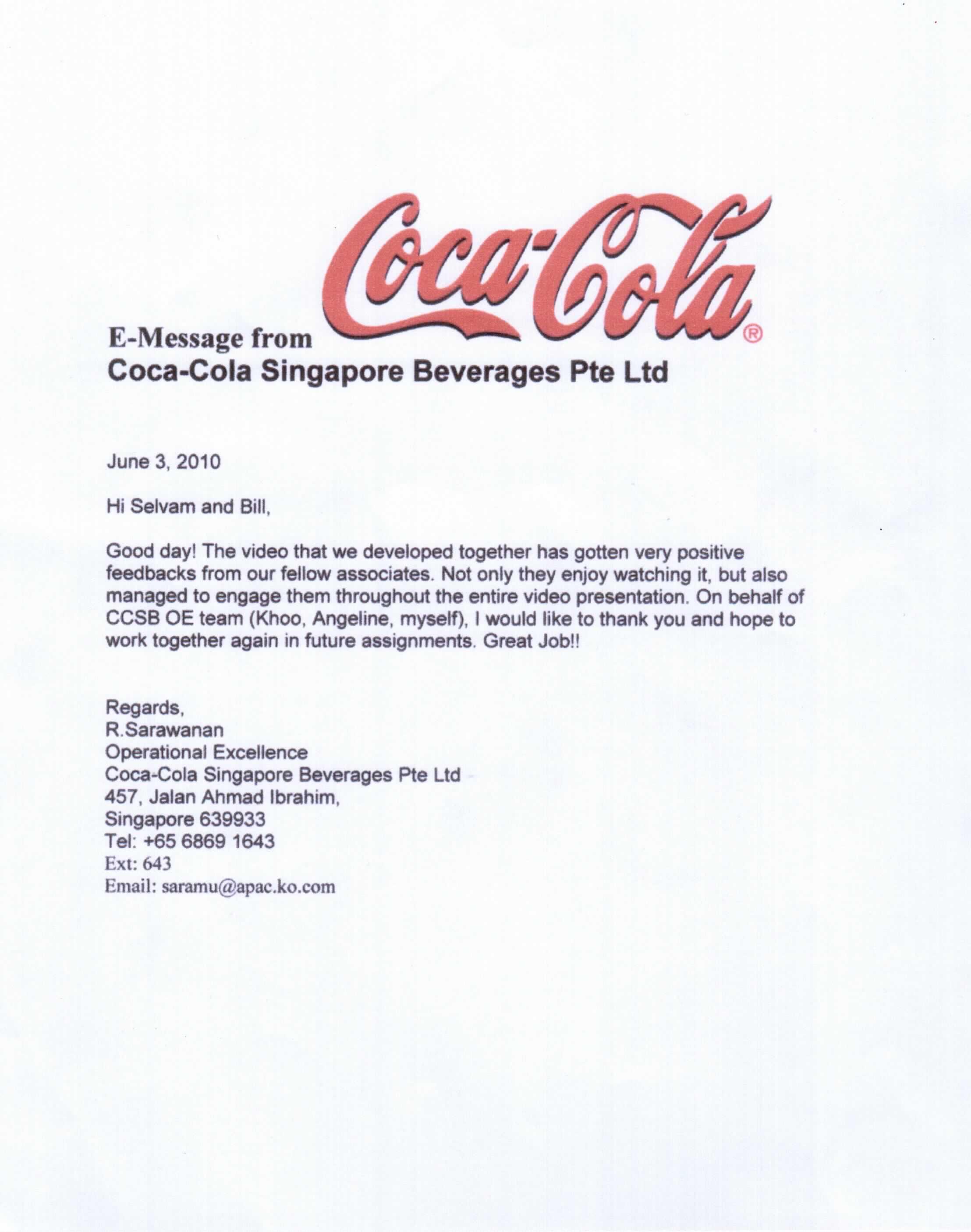 Coca-Cola Testimonal