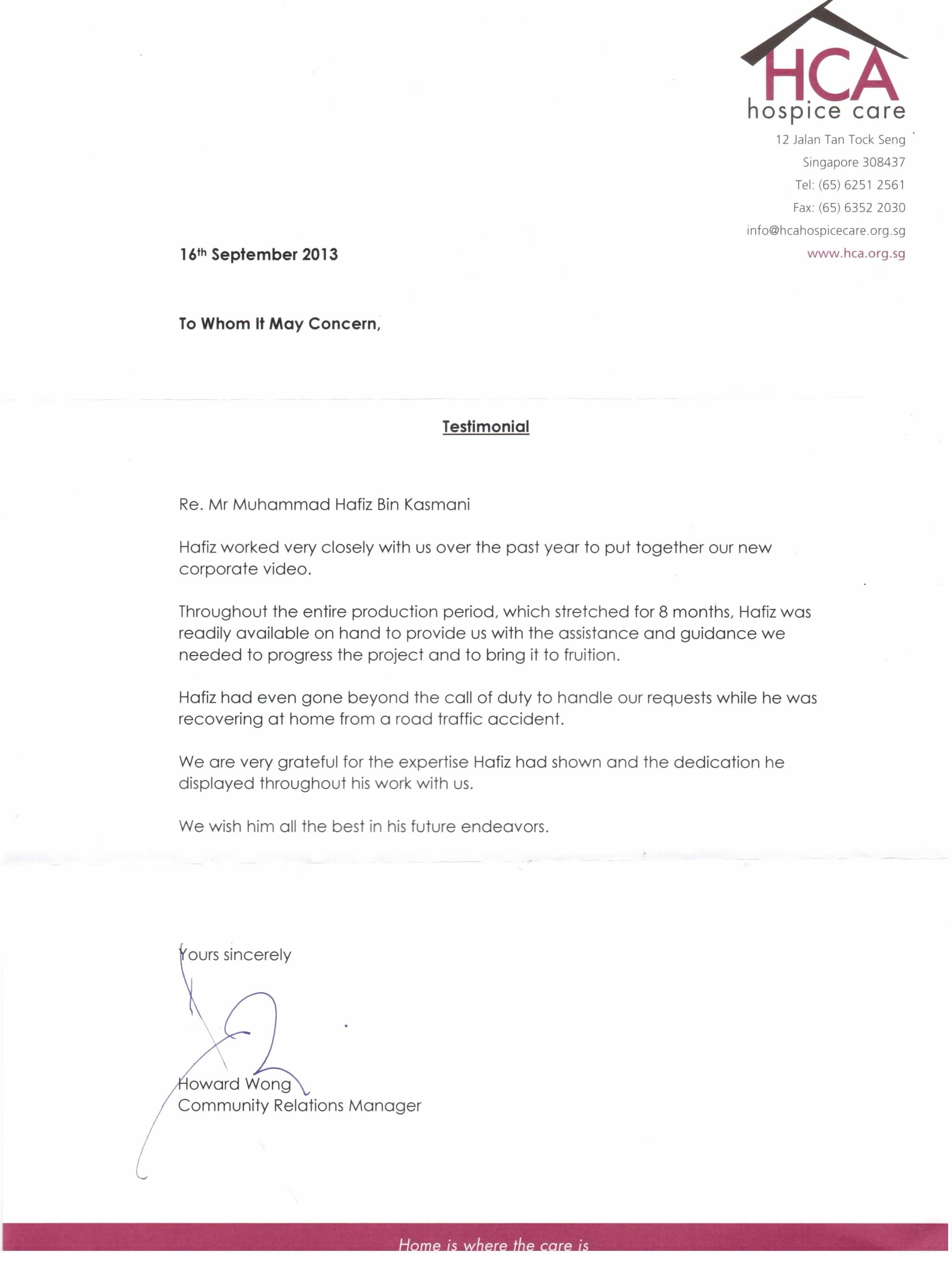 HCA Testimonial